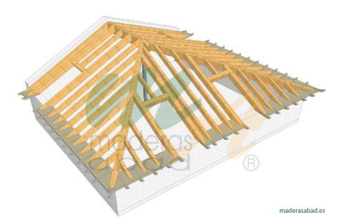 Estructuras de madera cubiertas de madera maderas for Tejados de madera a cuatro aguas