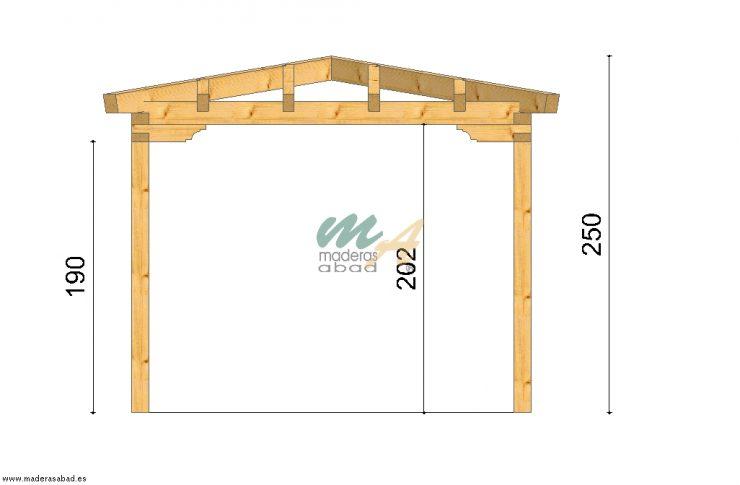 Fabricaci n de p rgola de madera 4 aguas maderas miguel - Diseno de pergolas de madera ...
