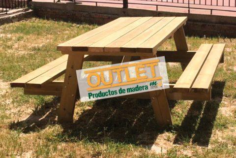 Mesa de jard n con bancos integrados de madera tratada - Bancos de jardin de madera ...